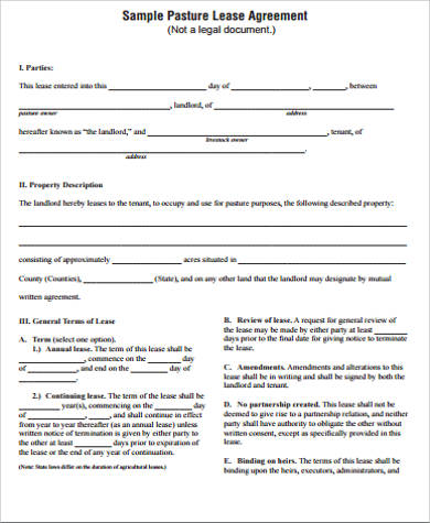 horse pasture lease agreement pdf