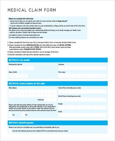 medicare benefits claim form