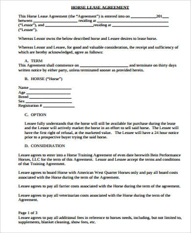Sample Horse Lease Agreement   Examples In Word Pdf