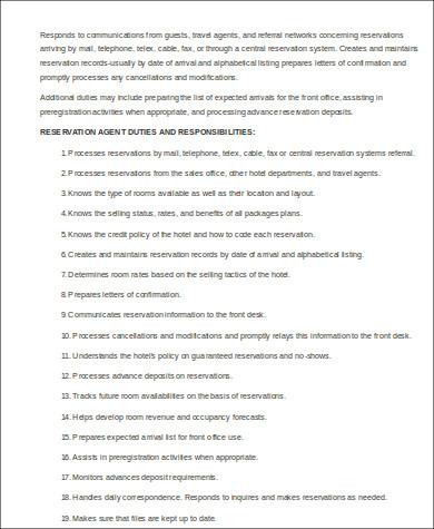 travel reservation agent job description