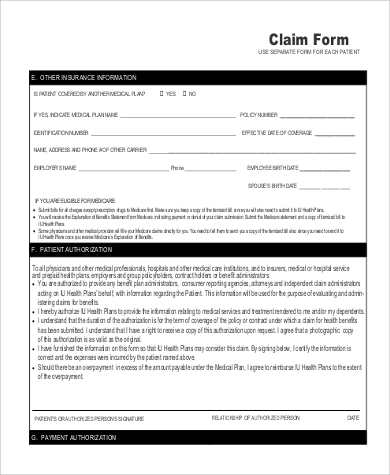 Sample Medicare Claim Form - 9+ Examples In Word, Pdf