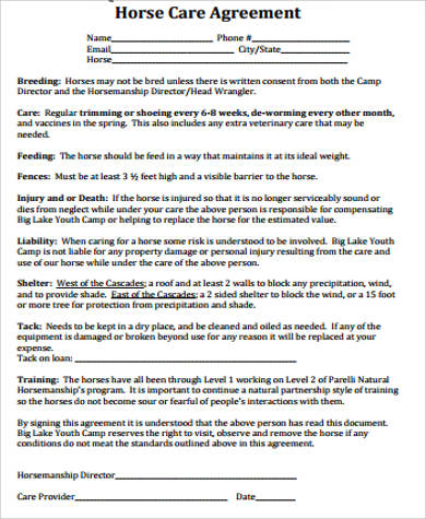 horse care lease agreement
