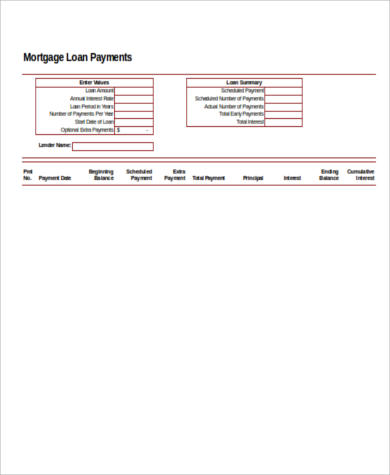 mortgage loan payment calculator