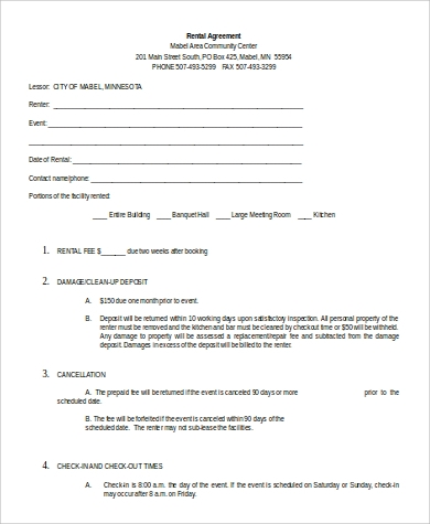 sample rental agreement in doc
