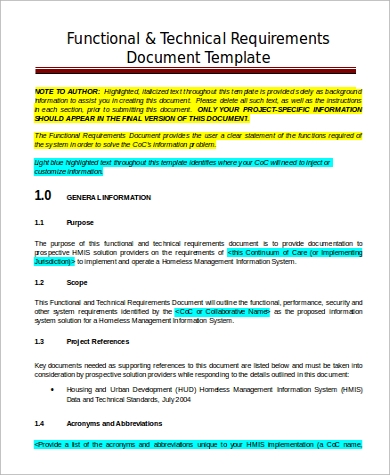 functional technical requirement document