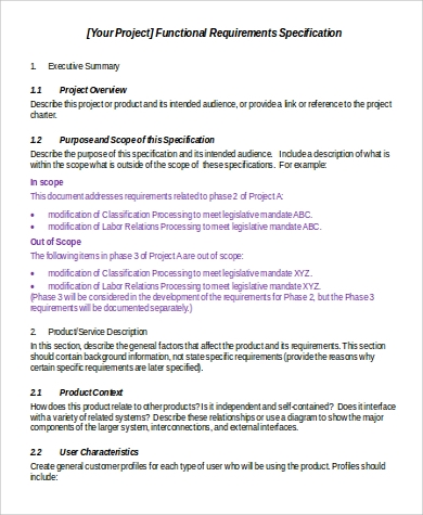 functional specification requirement document
