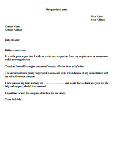 professional personal resignation letter