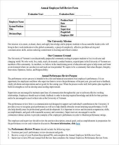 8 sample employee self evaluation forms sample templates for Yearly employee review template
