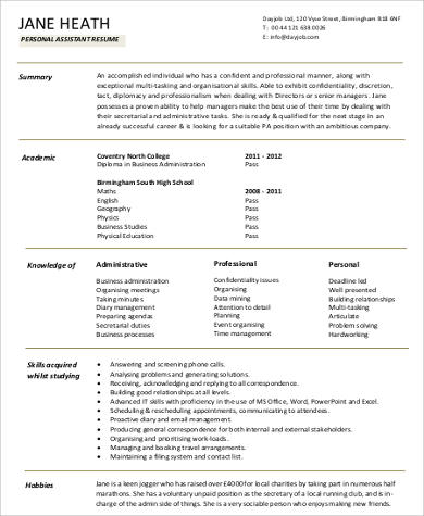 Sample Personal Assistant Resume   Examples In Word Pdf