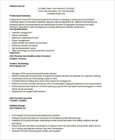 CEO Personal Care Assistant Resume Example  Personal Care Assistant Resume