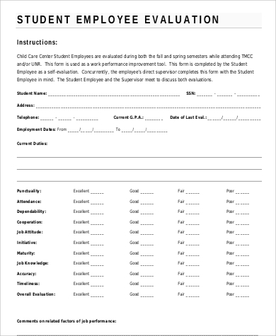 Free Student Employee Self Evaluation Form