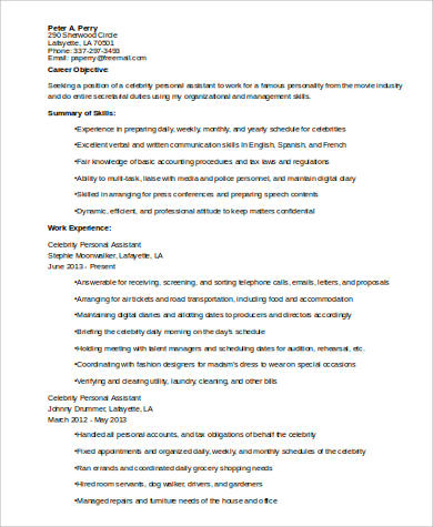 Sample Personal Assistant Resume 8 Examples In Word Pdf