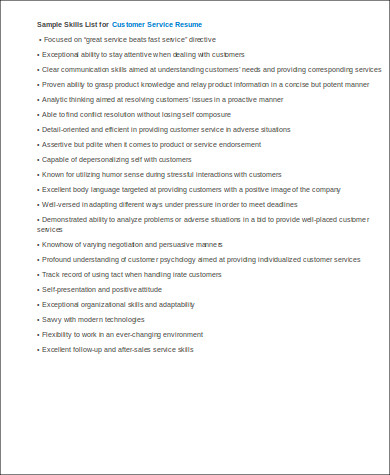 skills for customer service job resume sample