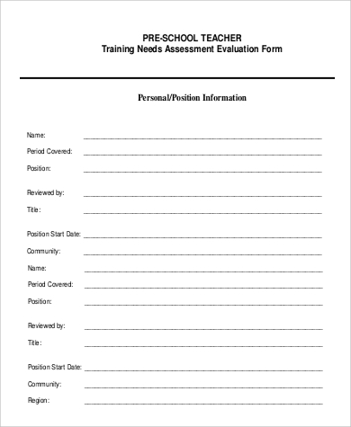 Sample Teacher SelfEvaluation Form   Examples In Pdf