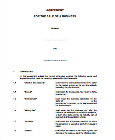 Business Agreement   Examples In Word Pdf