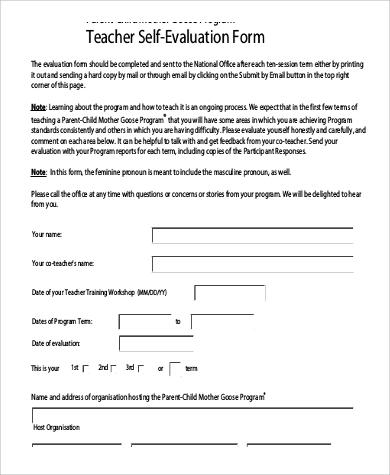 teacher candidate self evaluation form