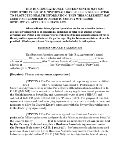 business associate agreement format