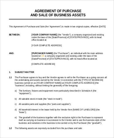 sale of business agreement format example1