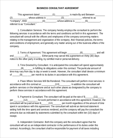 business consultant agreement format