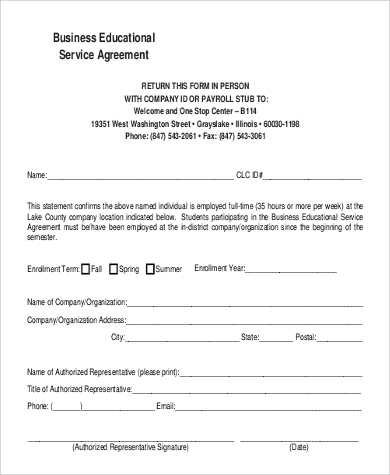 business educational service agreement format