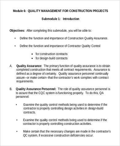 Sample Quality Management Plan   Examples In Word Pdf