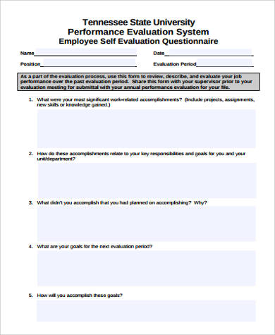 Captivating Employee Performance Self Evaluation Form Sample