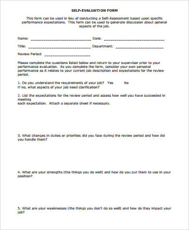 performance review self evaluation form