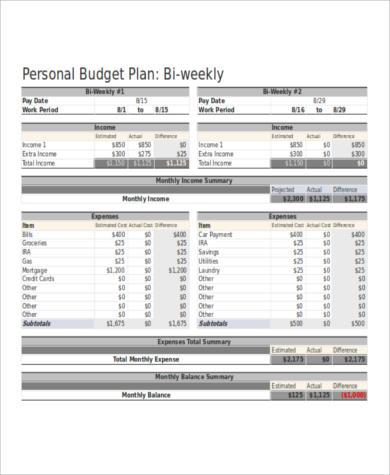 bi weekly budget spreadsheet excel