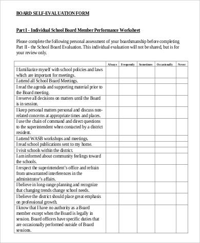 Sample School Self-Evaluation Form - 6+ Examples In Word, Pdf