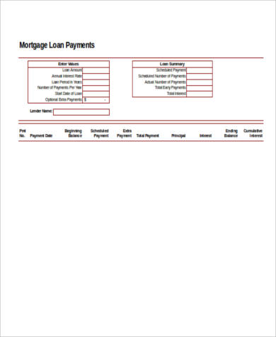 Mortgage Payment Calculator Extra Payment - 6+ Examples In Excel, Pdf