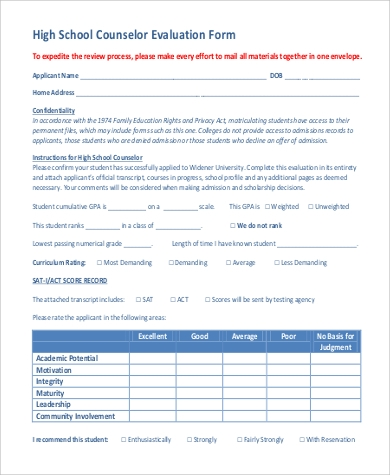 sample high school counsellor self evaluation form