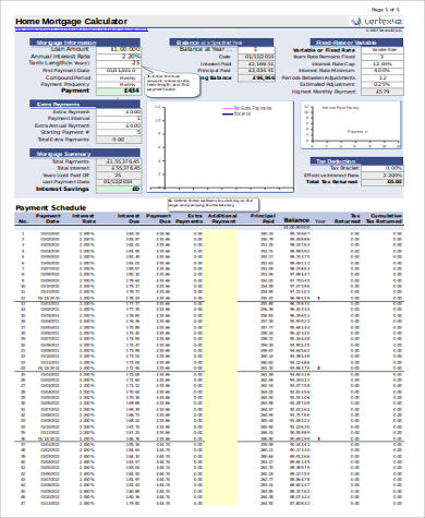 Mortgage Payment Calculator Extra Payment - 6+ Examples in Excel, PDF