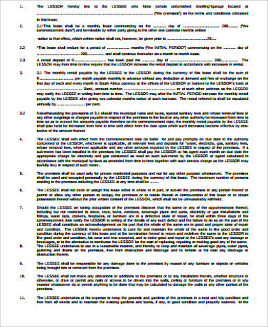 private residential rental agreement