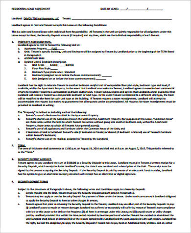 residential room rental agreement example