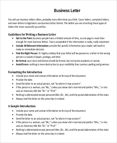 Sample Formal Business Letter   Examples In Word Pdf
