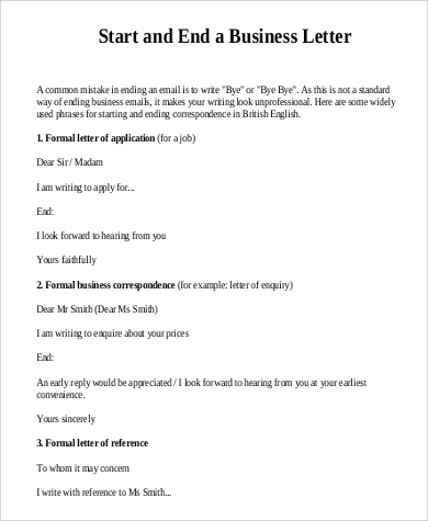 starting and ending of a formal business letter format