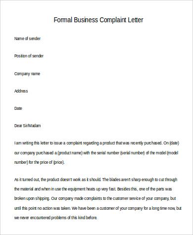 formal business complaint letter