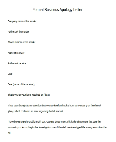 formal business apology letter example