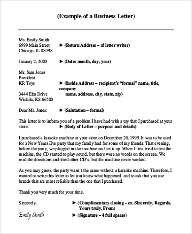example of a formal business letter