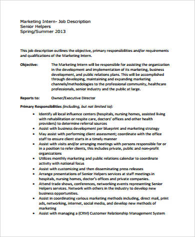 Intern Job Description Sample   Examples In Word Pdf