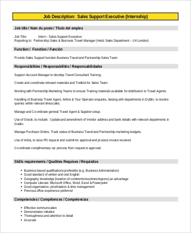9+ Sales Intern Job Description Samples | Sample Templates