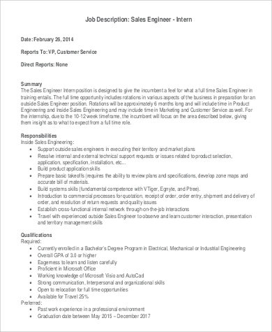 Free Sales Engineer Intern Job Description
