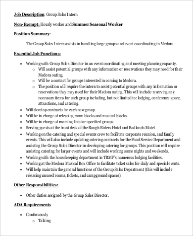 sales intern job description sample 9 examples in pdf