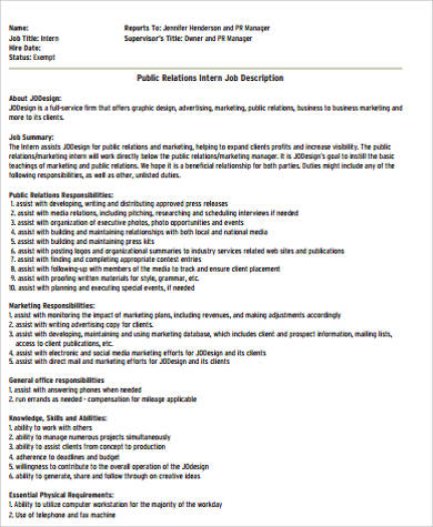 General Intern Job Description Sample - 9+ Examples In Word, Pdf