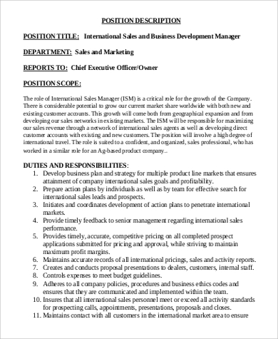 Sales And Business Intern Job Description In PDF Nice Look