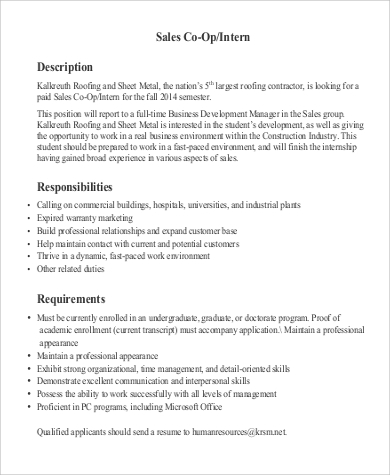 Sales Co Op Intern Job Description Responsibilities