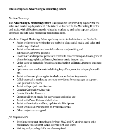 Marketing Intern Job Description Sample - 9+ Examples In Word, Pdf