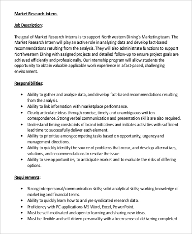 marketing research intern job description