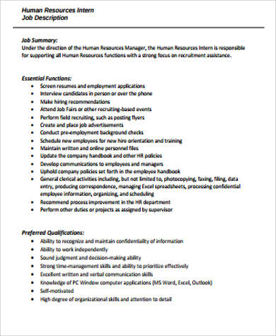 Hr Intern Job Description Sample   Examples In Word Pdf