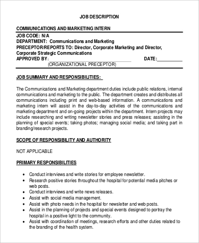 marketing communications intern job description